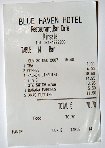 Blue Haven Receipt