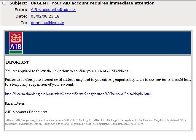 AIB phishing email