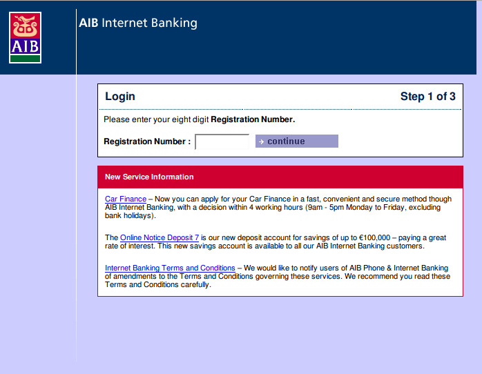 Fake AIB login screen