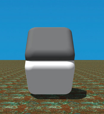 The two objects are the same colour. Cover the middle join with your finger.