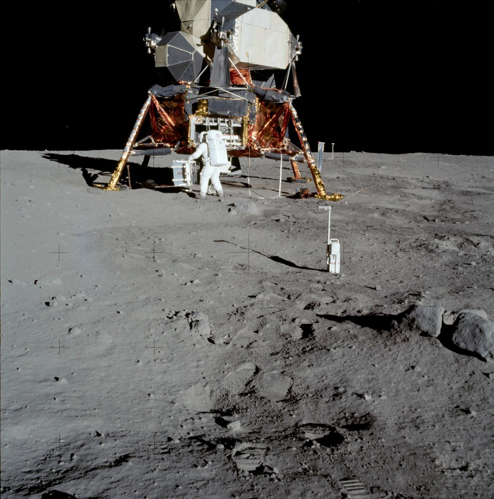Apollo 11's Lunar Module, Eagle with Buzz Aldrin in foreground.